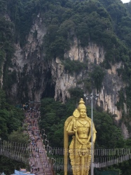 A statue of Lord Murugan at the Batu Caves