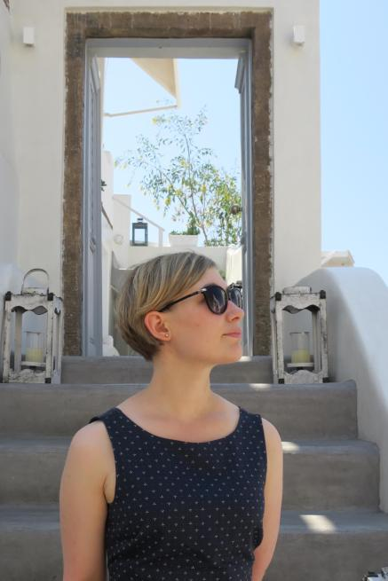 Sarah looking cool in Oia